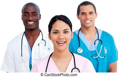 Retrato del joven equipo médico