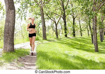 retrato, jogging, mujer