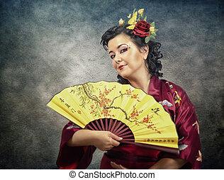 Retrato largo de mujer kimono
