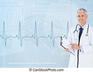 retrato mayor, utilizar, portapapeles, cardiólogo