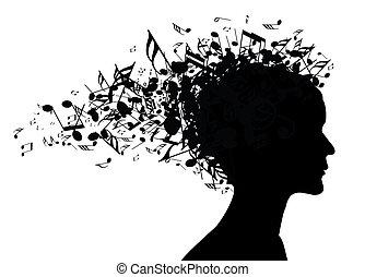 retrato, mujer, silueta, música
