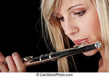 retrato, mujer, tocar la flauta, transversal