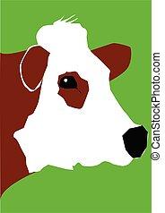 retrato, vaca