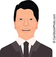 Retrato Vector del 40o presidente de los Estados Unidos Ronald Wilson Reagan