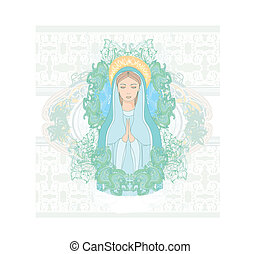 retrato, virgen maria, bendito