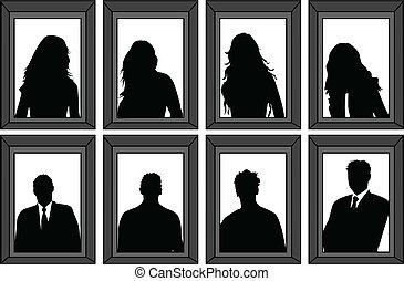 Retratos de gente: Siluetas vectoriales enmarcadas