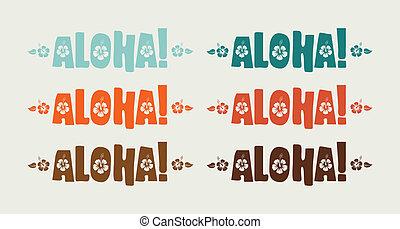 retro, aloha, conjunto, vector, colores, palabra