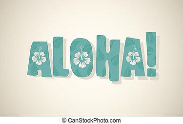 retro, aloha, vector, colores, palabra