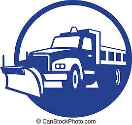 retro, arado, camión, círculo, nieve