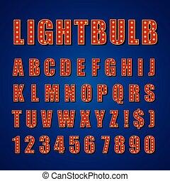 Retro bombilla alfabeto vector font letra letra