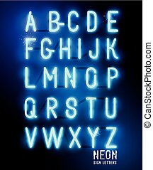 Retro brillante letras de neón