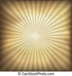 Retro Brown Sunburst pasado. Ilustración del vector, EPS10.