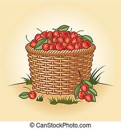 Retro canasta de cerezas