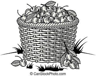 Retro canasta de cerezas en blanco y negro