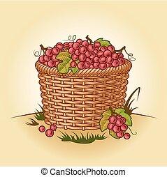 Retro canasta de uvas