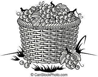 Retro canasta de uvas en blanco y negro