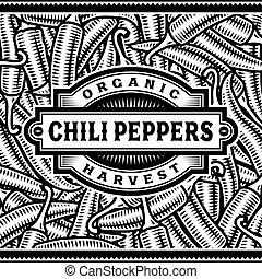 Retro chile etiqueta de cosecha de pimienta en blanco y negro