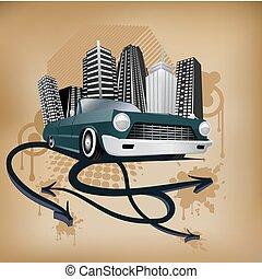 Retro City y póster de auto