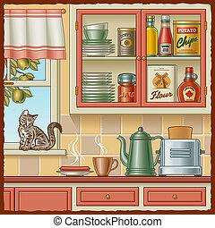 retro, cocina