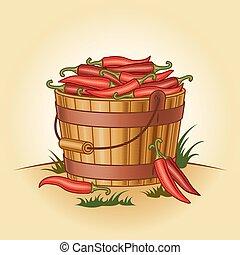 Retro cubo de pimientos picantes
