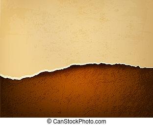 Retro de fondo con papel rasgado y cuero marrón. Ilustración del vector