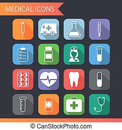 Retro iconos médicos plana y símbolos establecidos vector