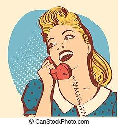 Retro joven con el pelo rubio hablando por teléfono. ilustración de color de arte popular vectorial