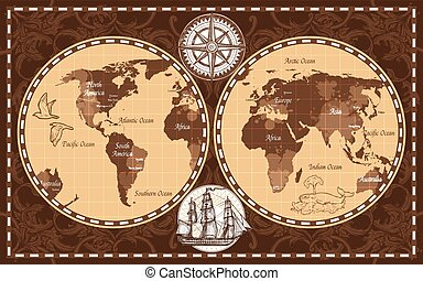 Retro mapa del mundo