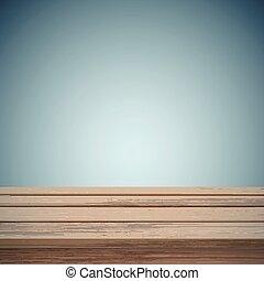 Retro mesa de madera sobre fondo abstracto