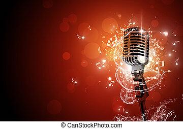Retro micrófono de fondo musical