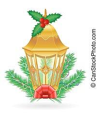 Retro Navidad clásica ilustración de vector de luz de la calle