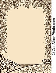 Retro oliva cuadro marrón vertical