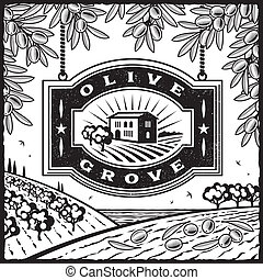 Retro Olive Grove blanco y negro
