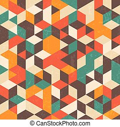 Retro patrón geométrico con textura grunge. Trasfondo abstracto sin daños.