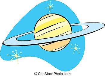 Retro planeta Saturn