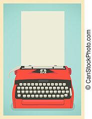 retro, plano de fondo, máquina de escribir
