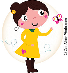 Retro primavera linda chica con vestido amarillo con mariposa