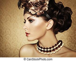 Retro retrato de una hermosa mujer. Estilo textual