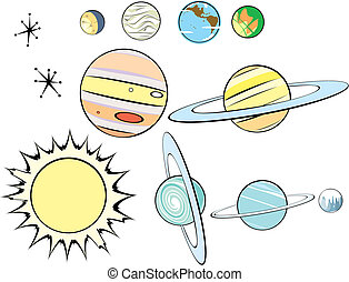 retro, sistema, solar, grupo