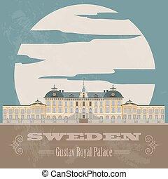 retro, suecia, landmarks., diseñar