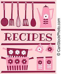 Retro tarjeta de receta
