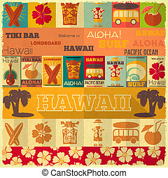 retro, tarjeta, hawai