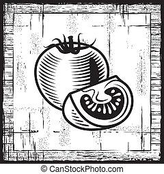 Retro tomate negro y blanco