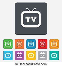 Retro TV signo icono. El símbolo de la televisión.