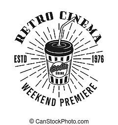 Retro vector emblema del cine con taza de refresco