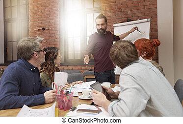 Reunión con compañeros de trabajo en la sala de juntas