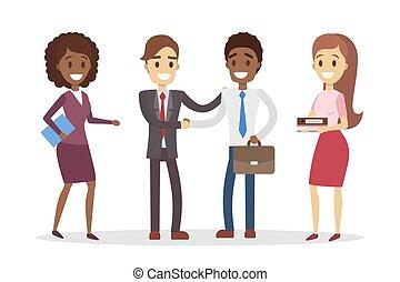 Reunión de asistentes de negocios.