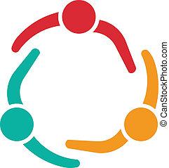 Reunión de equipo 3 logotipo de diseño