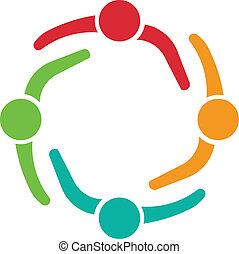Reunión de equipo 4 logotipo de diseño