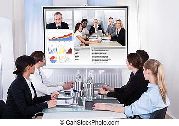reunión de la conferencia, vídeo, businesspeople, empresa / negocio